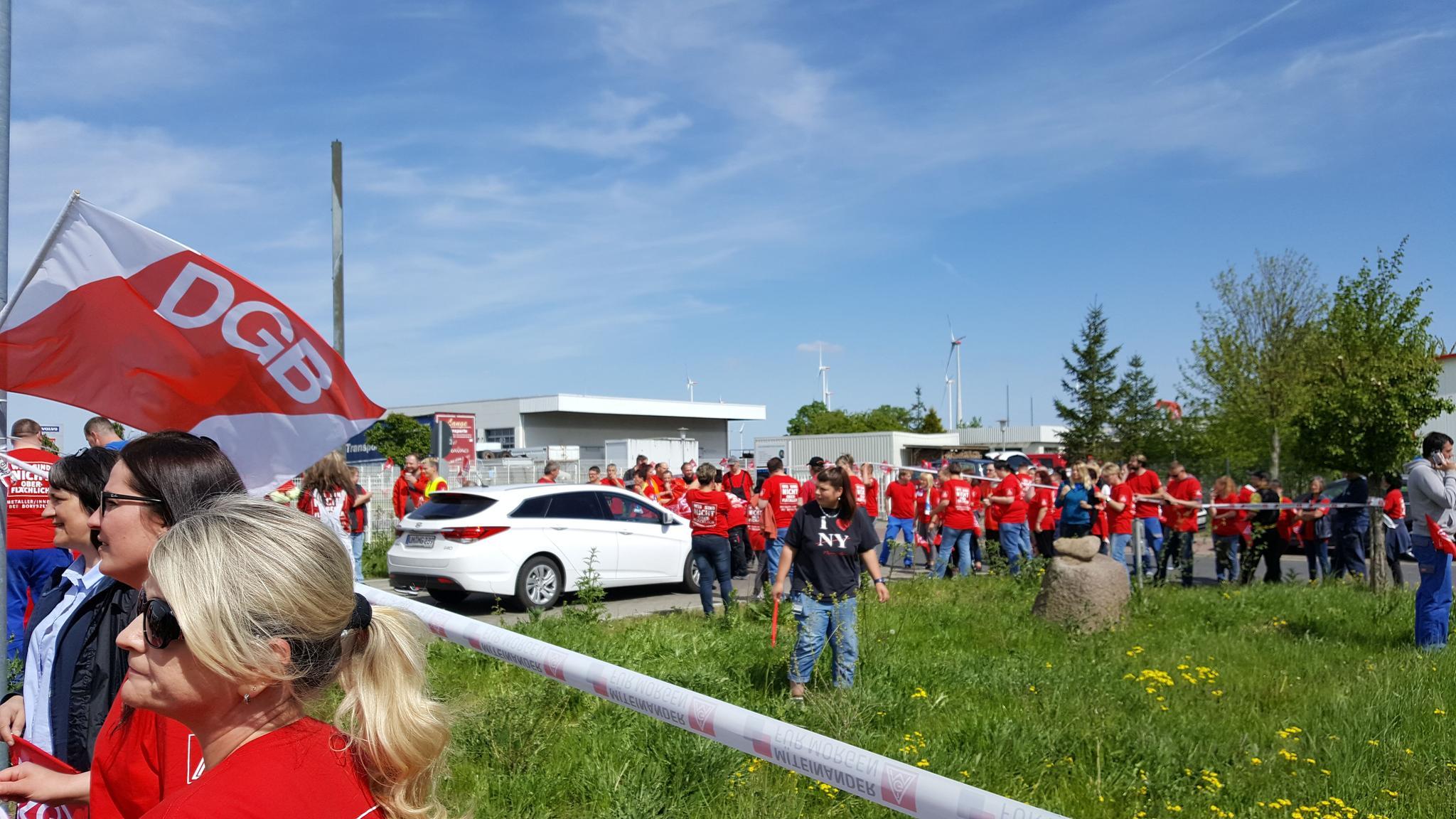 Warnstreik bei Boryscew in Prenzlau