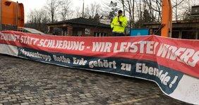 Protest bie Thyssenkrupp-Rothe Erde in Eberswalde