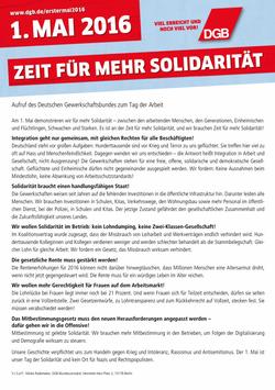 1. Mai-Aufruf DGB-Bundesvorstand