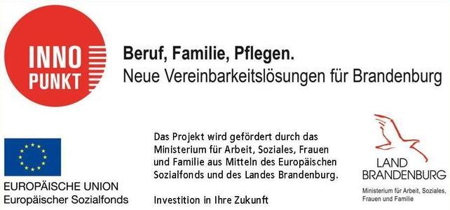 Logos der Förderer EU und Land Brandenburg