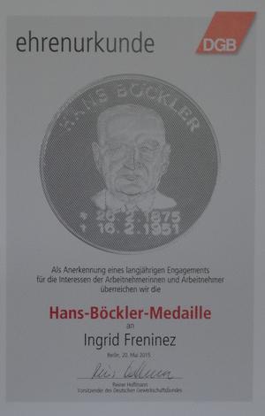 Urkunde zur Böckler-Medaille für Ingrid Freninez