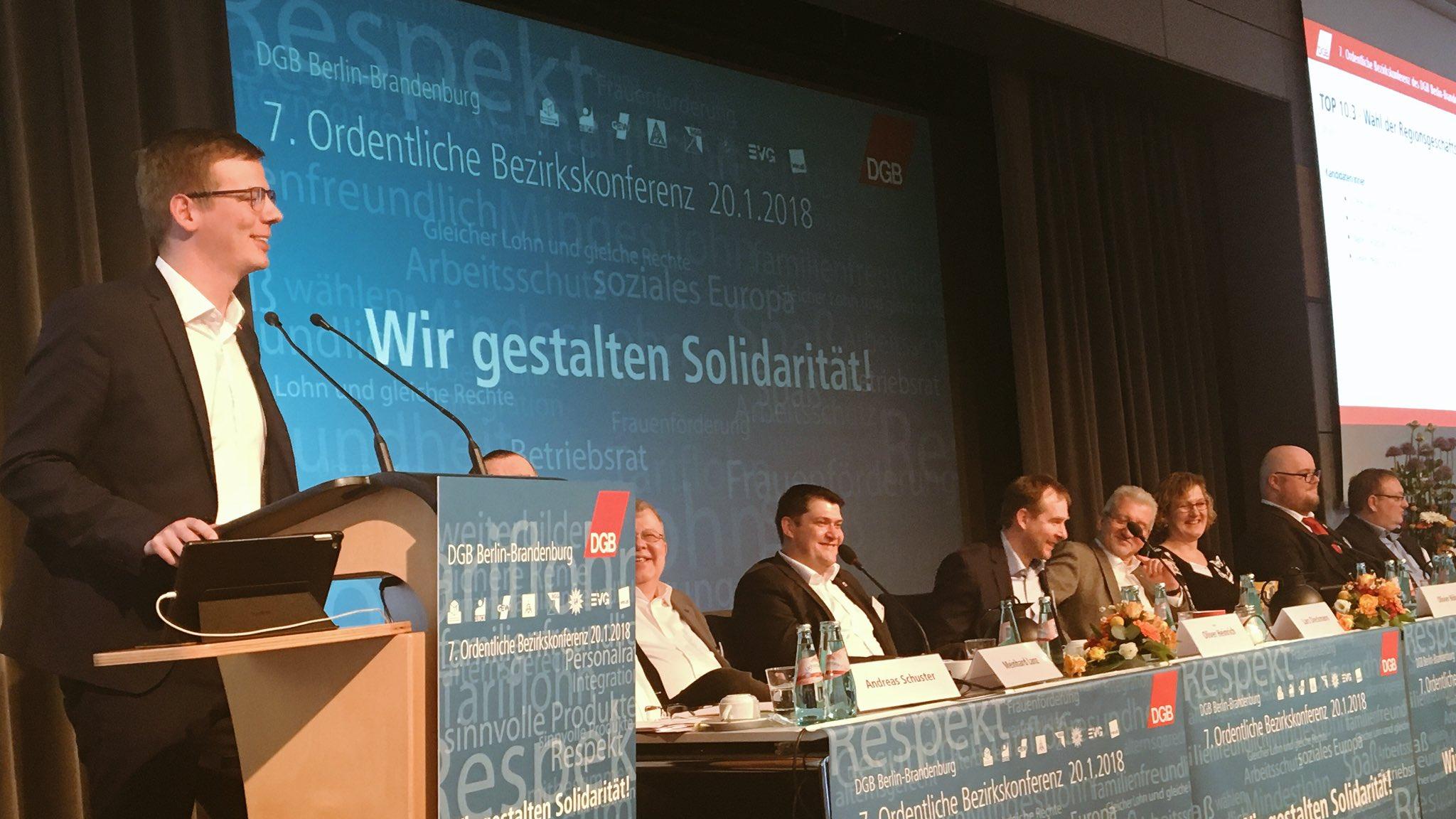 Regionsgeschäftsführer für den DGB Ostbrandenburg Sebastian Walter nach seiner Wahl auf der 7. Ordentlichen Bezirkskonferenz des DGB Berlin-Brandenburg