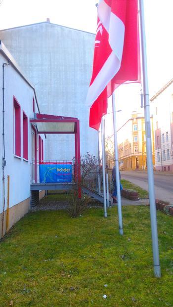 banner 25.11. am Gewerkschaftshaus Eberswalde