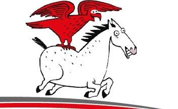 Roter Adler auf weißem Pferd