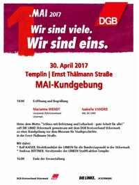 Am Vortag des 1. Mai in Templin