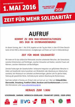 aufruf dgb ostbrandenburg 1. Mai
