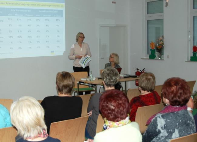Veranstaltung zur Rentenkampagne am 8.5. Schwedt: Präsentation Sylvia Dünn und marianne Wendt